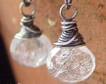 Tourmalated Quartz and Sterling Earrings