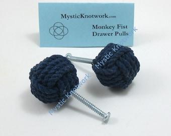 Navy Blue Nautical Drawer Pull, Knob Navy Monkey Fist Knot Kitchen Knob