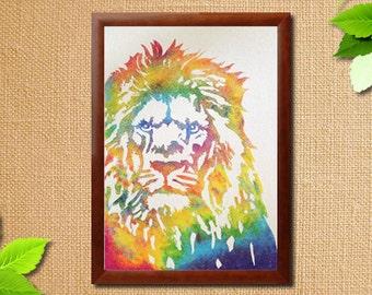 Instant Download Printable Art. Sand Art Lion.