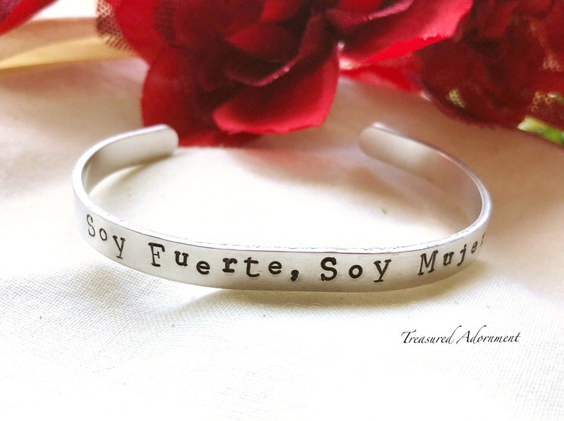 Soy Fuerte Soy Mujer, Hand Stamped Cuff Bracelet, Me too, Latina, Boss  Woman, Human Rights, Nasty Woman, Espanol, activist, holiday gift