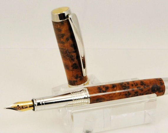Heirloom Quality Maple Burl Wood Fountain Pen, Chrome, Handmade By ASHWoodshops, Executive Styling