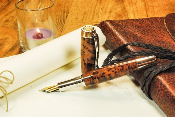 Brilliant Writers Gift! Burl-wood Fountain Pen Handmade, Platinum and Gold trim, Exhibition Grade   By ASHWoodshops, Heirloom Quality