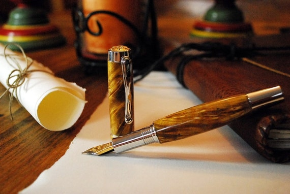 Fountain Pen, Yellow Box Elder Burlwood Handcrafted in the USA By ASH Woodshops, Brilliant Writers Gift!