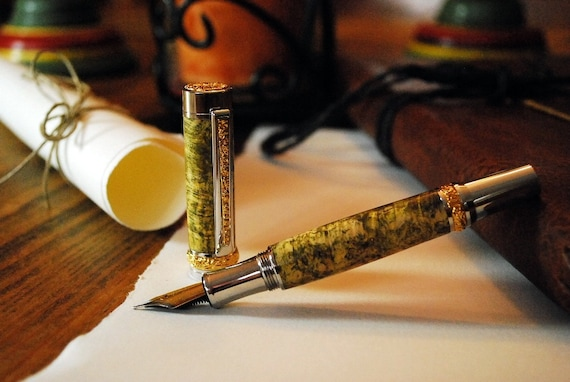 Writers Gift! Handmade Fountain Pen, Dyed-Stabilized Box Elder Burl, 22k Gold Platinum Trim, Proudly made in the USA by ASHWoodshops