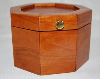 Trinket Box Jewelry Box, Handmade Wood, Cherry Lace-wood, Octagon Mom Dad or Grad Gift