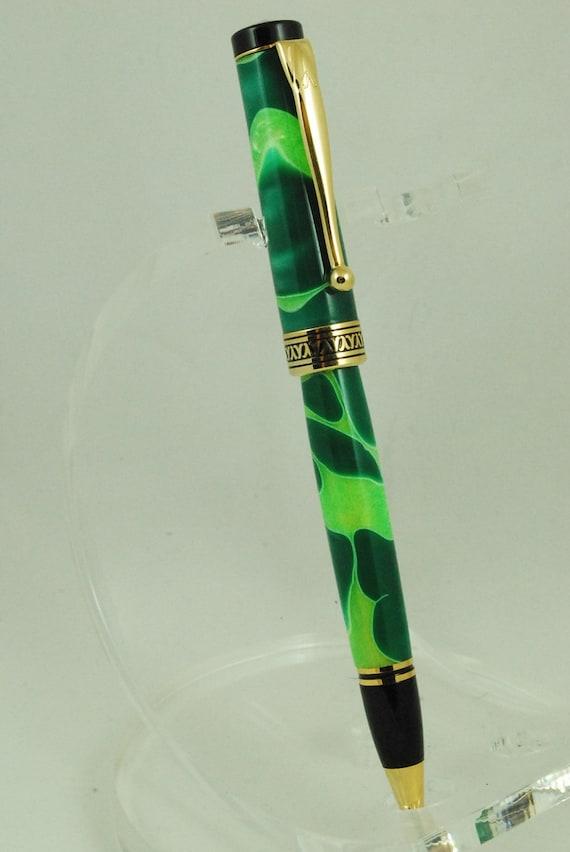 Ballpoint Twist Pen, Handmade Pen, Acrylic, Titanium Nitride, Green Swirl Acrylic, Americana By ASHWoodshops Mom Dad or Grad Gifts