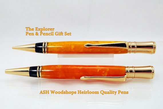 Twist Ballpoint Pen and Pencil Gift Set, Handmade, 24k Gold trim, Orange Crush Acrylic bodies by ASHWoodshops Brilliant Writers Gift!