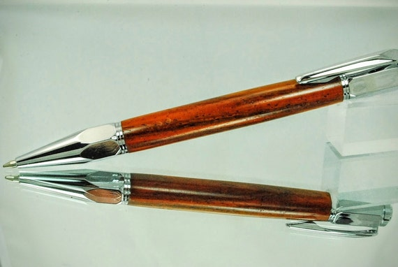 Ballpoint Click Pen, Hexi, Custom Handmade Wood Pen, Cocobolo Wood Chrome Trim By ASHWoodshops Mom Dad or Grad Gift
