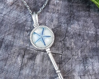 Mermaid Key Necklace - Real Starfish Necklace Blue Silver