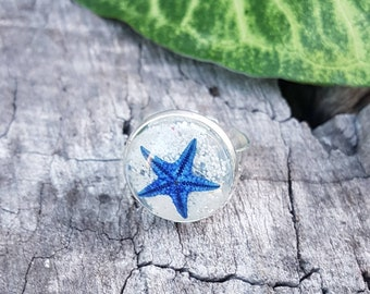 Mermaid Ring - Real Starfish with Beach Sand, Blue Silver