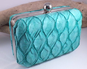 Mermaid Clutch Purse with Free Coin Purse - Fish Leather in Aqua