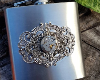 Steampunk Hip Flask - Stainless Steel 6oz hipflask with vintage watch mechanism