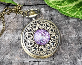 Dragon Scale Pocket Watch Necklace - Real, dyed snake shed