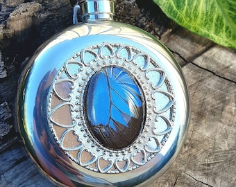 Ulysses Butterfly Wing Hip Flask - Real insect wing on a Stainless Steel 5oz hipflask