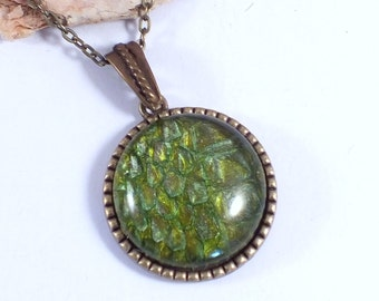 Forest Dragon Scales - REAL snake shed, green and brass tree of life necklace