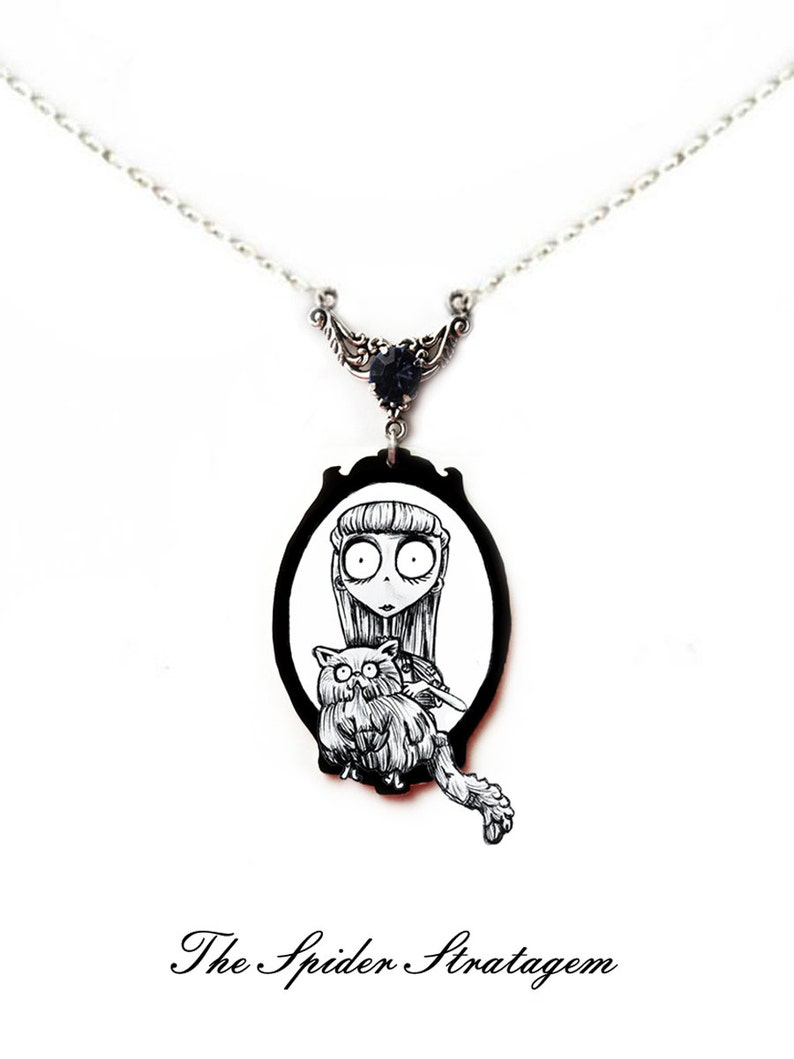 OOAK Gothic spooky earrings and necklace /'Weird Girl/' frankenweenie persian cat tim burton