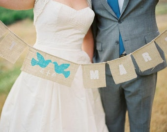 Just Married banner with aqua love birds as seen in Style Me Pretty,personalized with your initials
