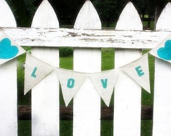 LOVE burlap banner aqua blue hearts,cottage,shabby chic