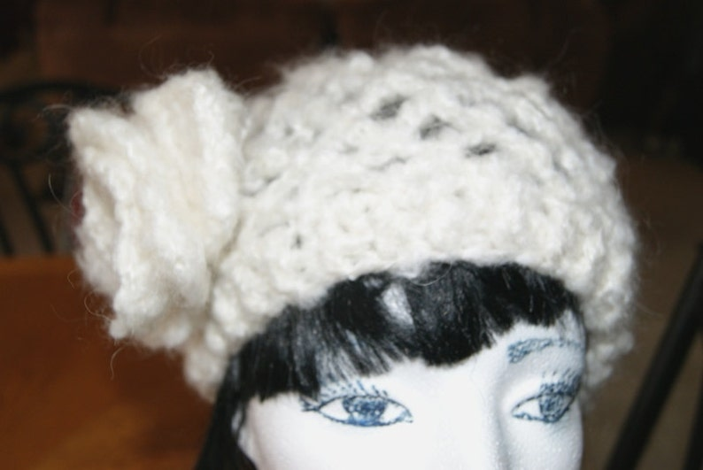 Hand Crochet ABBA style Tam with Crochet Rose  Light Ivory Snood  Lace hat  Made to order in any size or color