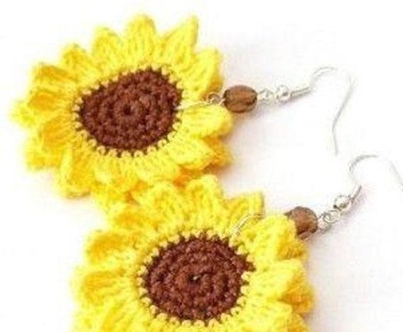 Handarbeit häkeln Sonnenblume Ohrringe / Custom made gehäkelte | Etsy