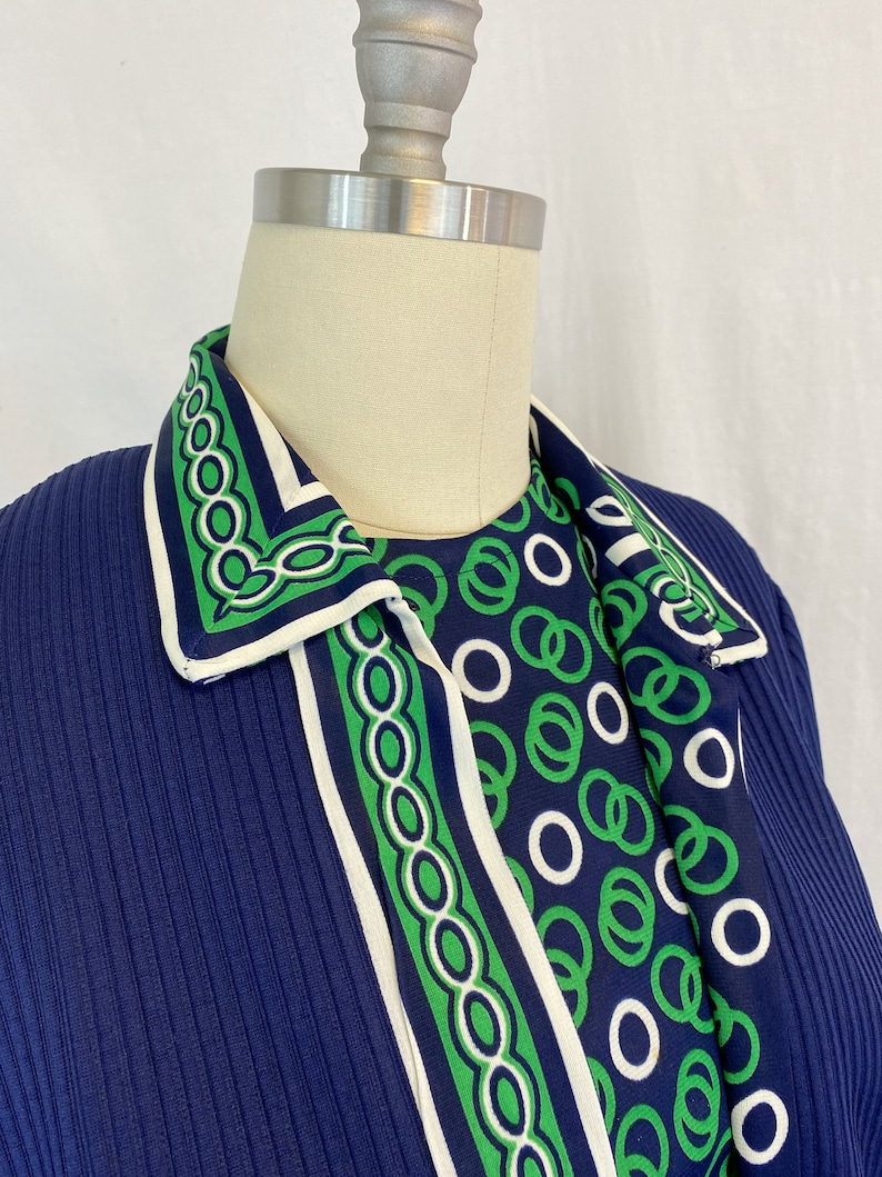 70s Shift Dress with Jacket Size Medium to Large Vintage Belted Dress in Navy Blue and Green