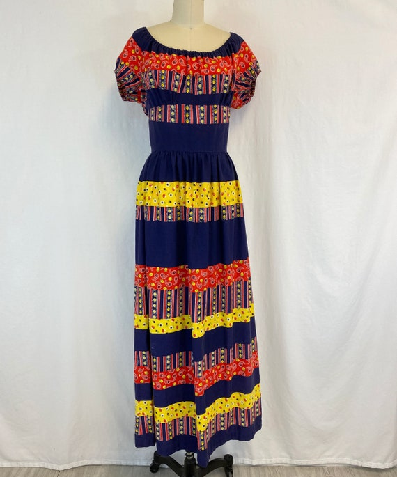 70s Peasant Maxi Dress | Off the Shoulder | Bright