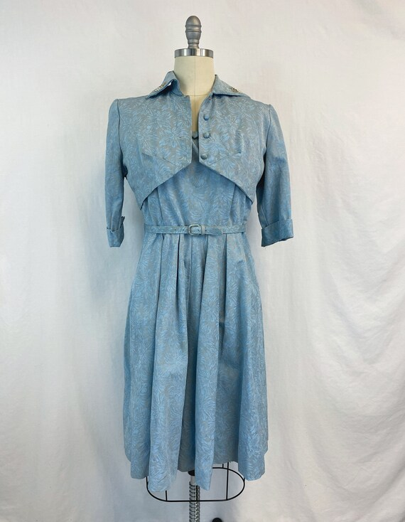 Vintage 50s Dress with Bolero Jacket   Belted Fit