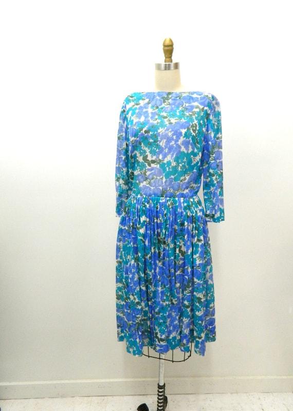 Vintage 1950s semi sheer floral day dress Med to Large | Etsy