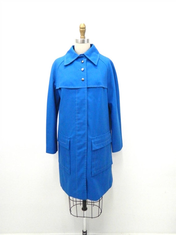 1960s Blue Mod Coat...Button Down Trench Coat...To