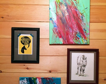 You Have My Heart Original Abstract Lime Green Painting from horse artist MINNOW