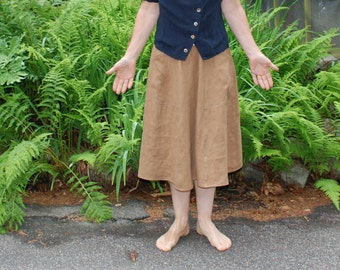 Linen Skirt - Mid length with deep pockets 6 Gores Ginger