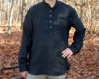 Mens' Hemp Shirt, Black Henley, Handmade, long plackets