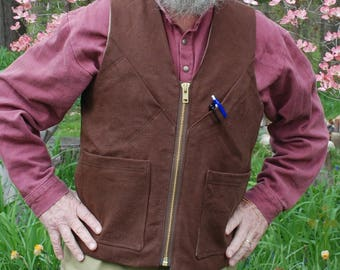 Work Vest Hemp with heavy duty zipper, pockets and lined with organic cotton