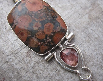Poppy Jasper and Peach Tourmaline Hinged Pendant in Sterling Silver - One of a Kind