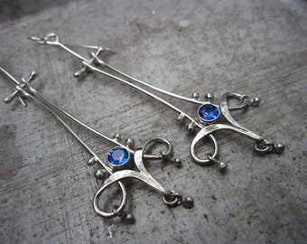 RESERVED FOR MARIE Interlaced Forged Sterling Silver Trefoil Earrings with Hinges - Simulated Blue Sapphire - Shoulder Dusters