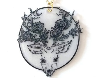 Floral Stag Pendant Necklace - Twilight Forest - Autumn, Fall, Floral, Goth, Circle, Midnight, Deer, Doe, Buck, Wildlife, Nature