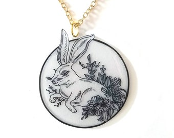 Floral Hare Pendant Necklace - Twilight Forest - Autumn, Fall, Floral, Goth, Circle, Midnight, Rabbit, Wildlife, Nature
