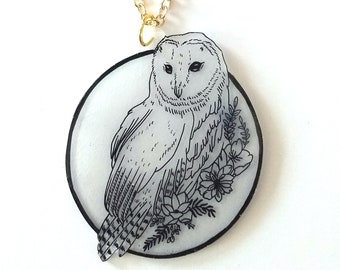 Floral Owl Pendant Necklace - Twilight Forest - Autumn, Fall, Floral, Goth, Circle, Midnight, Bird, Wildlife, Nature