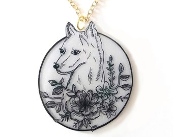 Floral Wolf Pendant Necklace - Twilight Forest - Autumn, Fall, Floral, Goth, Circle, Midnight, Fox, Wildlife, Nature