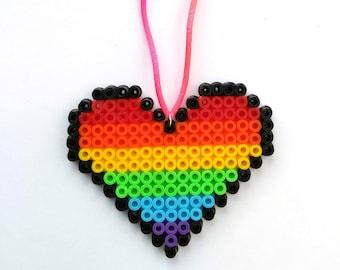 Rainbow Heart Pixel Bead Hanging Decoration / Magnet - Flat Perler Hama Bead Colourful Rainbow - Valentines Decoration, Love, Pride