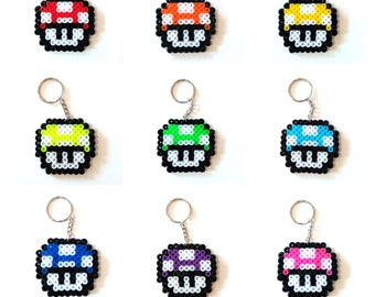 Super Mario Toadstool Pixel Bead Keyring - Flat Perler Hama Bead Colourful Retro Nintendo Mushroom - Choose Your Favourite!