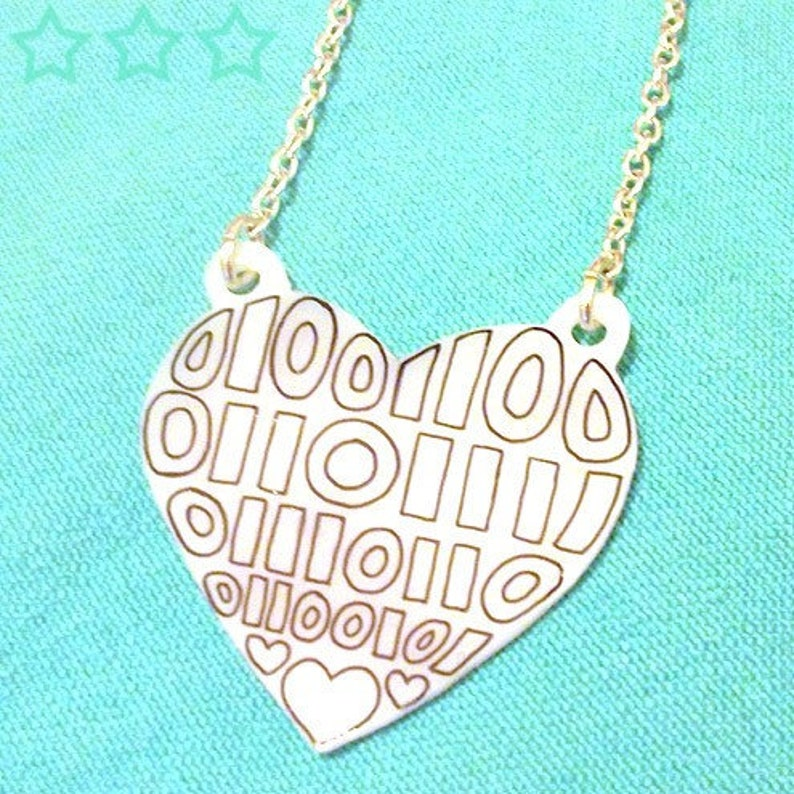 LOVE in Binary  Binary Heart Necklace  Valentines Geek image 0