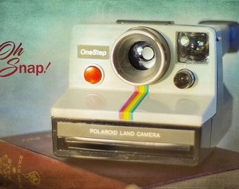 Oh Snap,Polaroid Rainbow, Antique Camera, Retro, Art Photography Still Life, Fine Art, Vintage Camera, Polaroid, Collectors, Shabby Chic