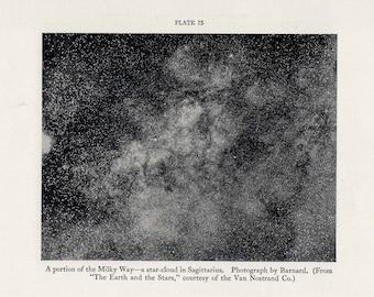 1934 MILKY WAY LITHOGRAPH - original vintage print - celestial astronomy galaxy