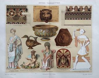 1894 TERRA COTTA POTTERY print original antique print - earthenware ceramic vases ornamental building material