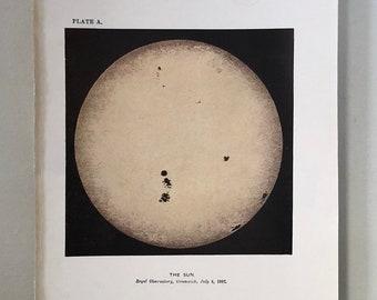 c. 1905 - THE SUN print - original antique astronomy print - solar print