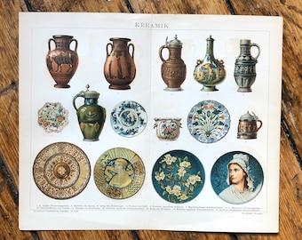 C. 1903 CERAMICS PRINT - original antique pottery print - vases plates urns ceramic pots - terra cotta, faience, Delft, Majolica,