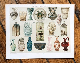 c. 1894 ART GLASS PRINT - original antique print art glass industry - glass vases and plates - decorative glassware