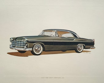 THE FIRST CHRYSLER c. 1955 • classic car print • original vintage lithograph printed in the 1960's • collectable automobile print