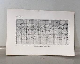c. 1905 - MAP OF MARS print - original antique astronomy print - Schiaparelli's Map of Mars